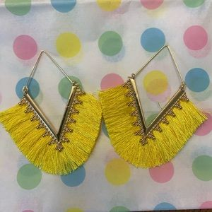 Gold Fringe Dangle Earrings Yellow